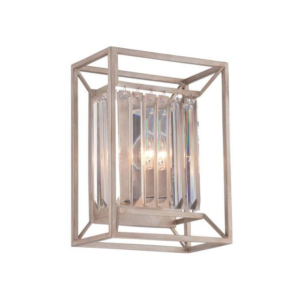 Linares 2-Light Aged Platinum Interior Incandescent Bath Vanity Light