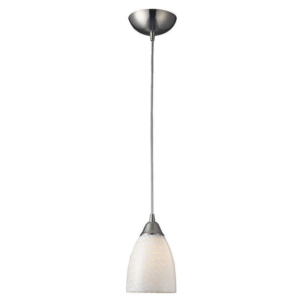 Arco Baleno 1-Light Satin Nickel Pendant with White Swirl Glass Shade