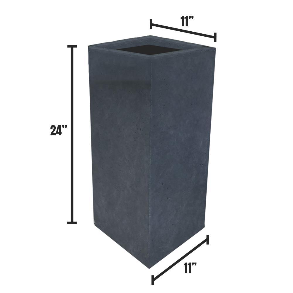 Medium 11 in. x 11 in. x 23.6 in. Granite Lightweight Concrete Tall Planter
