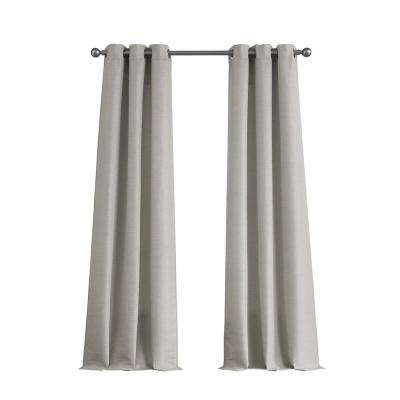 Raw Faux Silk Grommet 76 in. x 84 in. Curtain Panel Pair in Light Grey