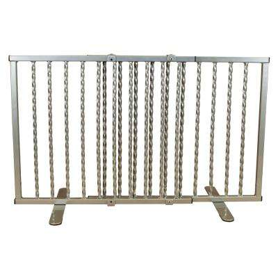 Wrought Iron Step Over Freestanding Pet Gate 24 in. to 41.25 in. Pewter