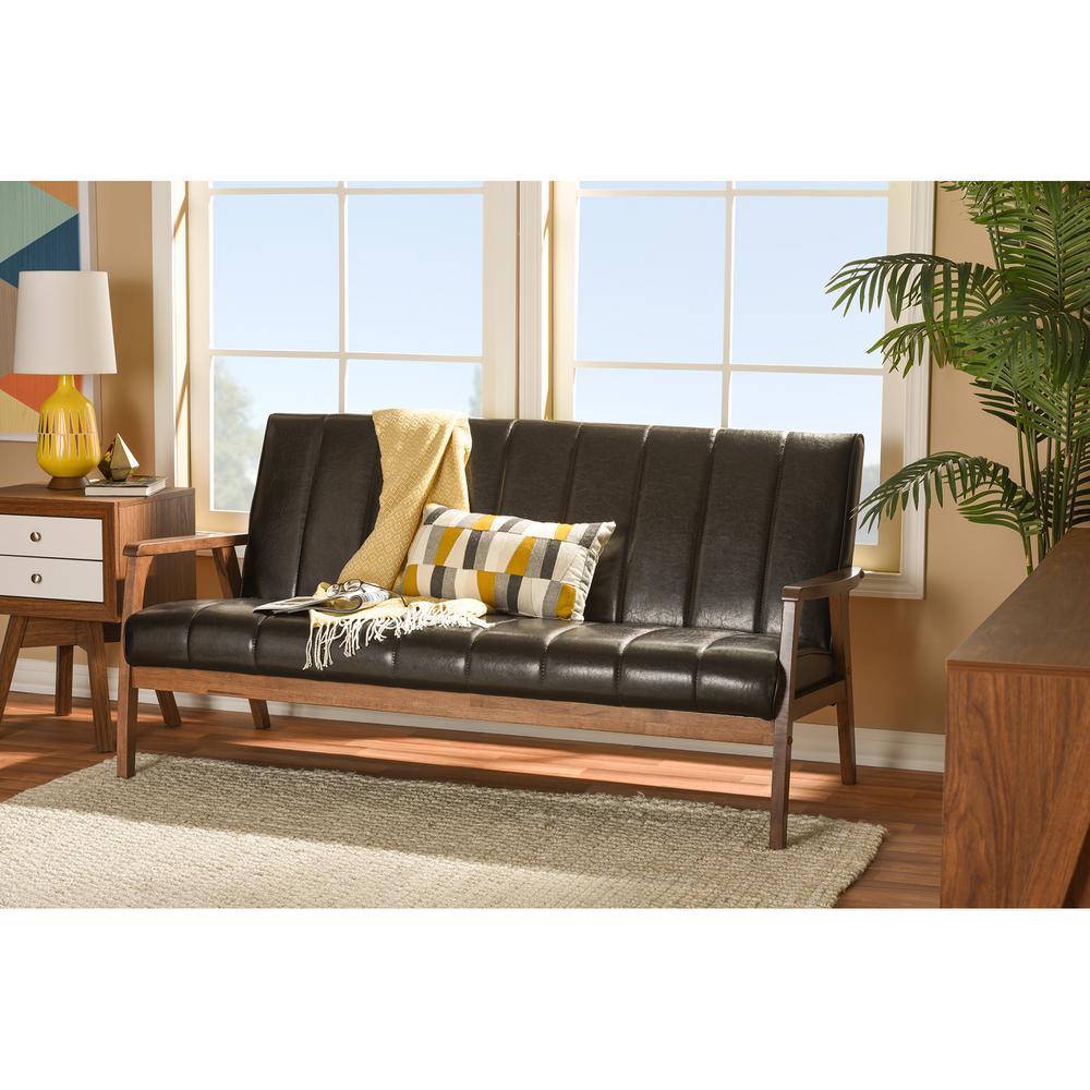 Baxton Studio Nikko Mid-Century Brown Faux Leather Upholstered Sofa ...