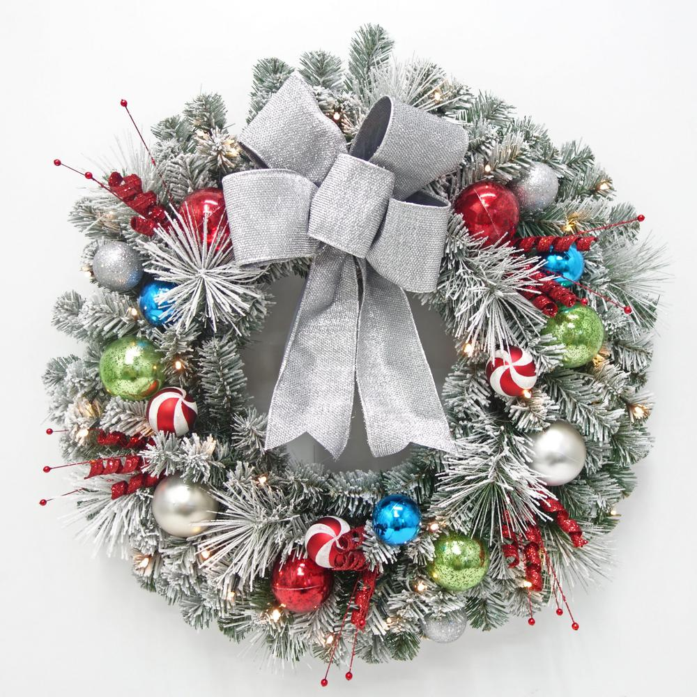 32 in. Pre-Lit LED Flocked Whimsical Artificial Christmas Wreath with 35-Lights