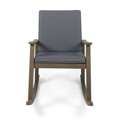 Candel Gray Wood Outdoor Rocking Chair with Dark Gray Cushion