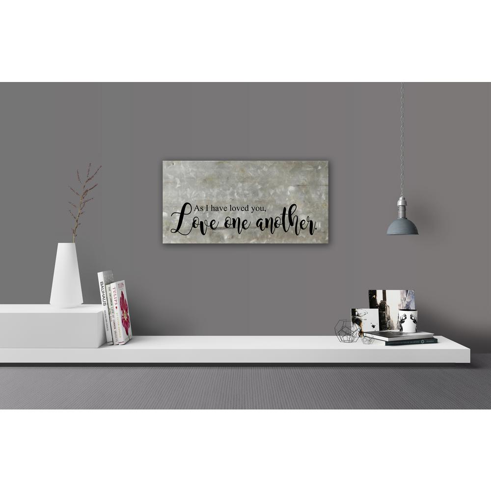 Reclaimed Steel Metal Wall Art LOVE ONE ANOTHER Decorative Sign