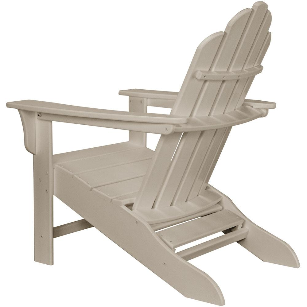 Surprising Hanover Sand All Weather Plastic Outdoor Adirondack Chair With Hide Away Ottoman Machost Co Dining Chair Design Ideas Machostcouk
