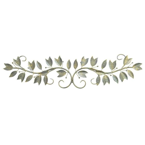 73b6fecd2e THREE HANDS Metal Antique Brass Finished Leaf Wall Art 87857 - The ...