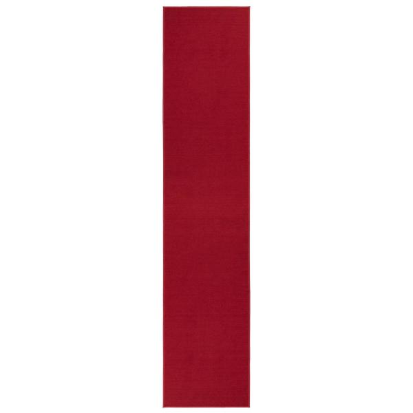 Ottohome Collection Carpet Solid Hallway Wedding Aisle Red Design 2 ft. 7 in. x 12 ft. Non-Slip Runner
