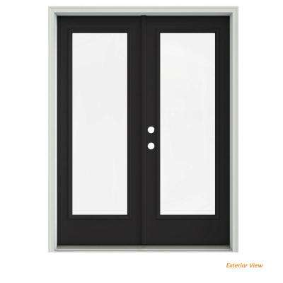 60 in. x 80 in. Chestnut Bronze Painted Steel Right-Hand Inswing Full Lite Glass Stationary/Active Patio Door