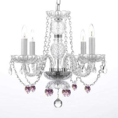 Empress Crystal 4-Light Crystal Chandelier with Pink Crystal Hearts
