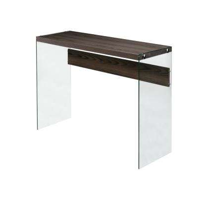 Escher Skye Console Sofa Table, Clear Glass, Walnut