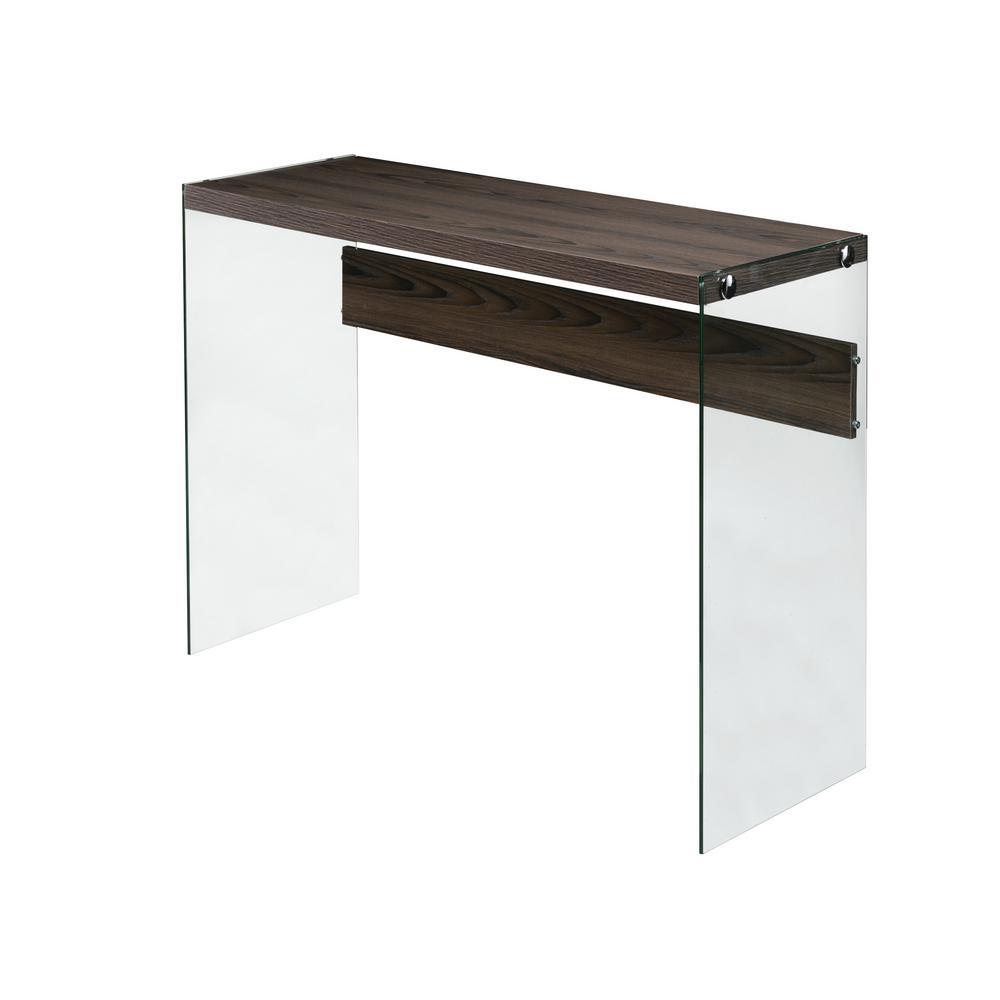Escher Skye Console Sofa Table, Clear Glass, Walnut