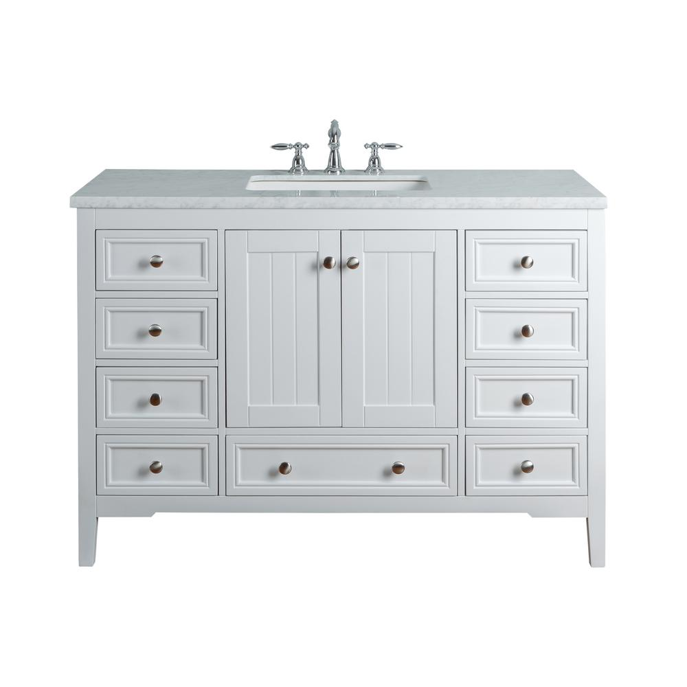 Peachy Stufurhome New Yorker 48 In White Single Sink Bathroom Vanity With Marble Vanity Top And White Basin Download Free Architecture Designs Pushbritishbridgeorg
