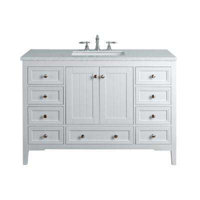 New Yorker 48 in. White Single Sink Bathroom Vanity with Marble Vanity Top and White Basin