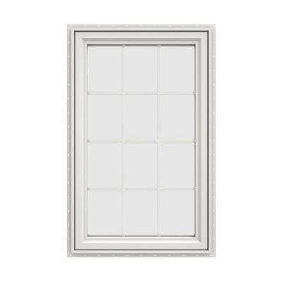 29.5 in. x 47.5 in. V-4500 Series White Vinyl Right-Handed Casement Window with Colonial Grids/Grilles