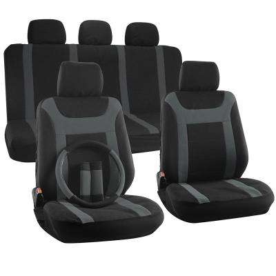 Polyester Seat Covers 26 in. L x 21 in. W x 48 in. H 17-Piece Y-Stripe Black Gray