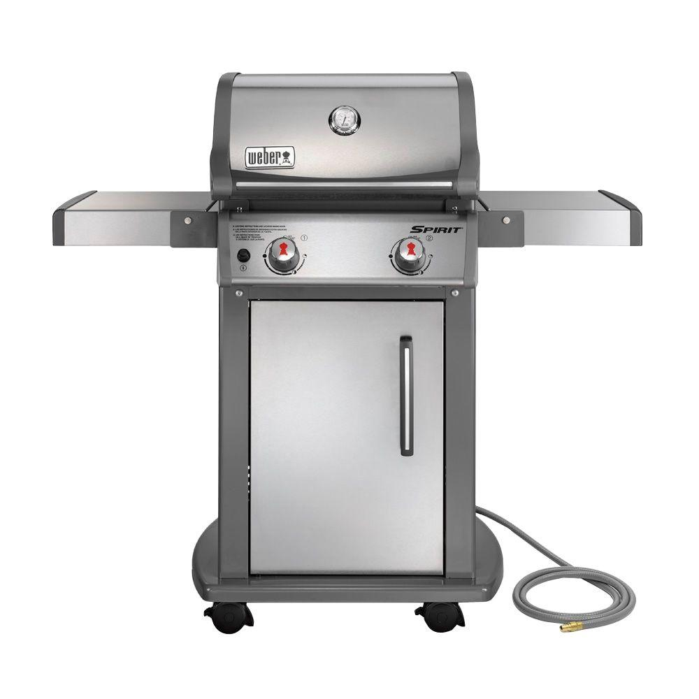 weber spirit s 210 2 burner natural gas grill in stainless steel with built in thermometer. Black Bedroom Furniture Sets. Home Design Ideas