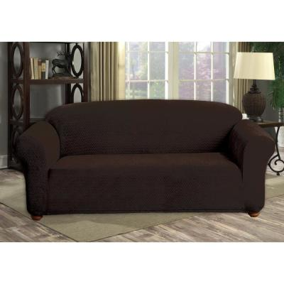 Hayden Water Resistant Chocolate Fit Polyester Fit Sofa Slip Cover