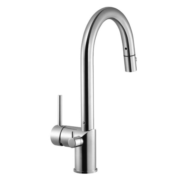 Sentinel Single-Handle Pull Down Sprayer Kitchen Faucet with Hot Water Safety Switch in Polished Chrome