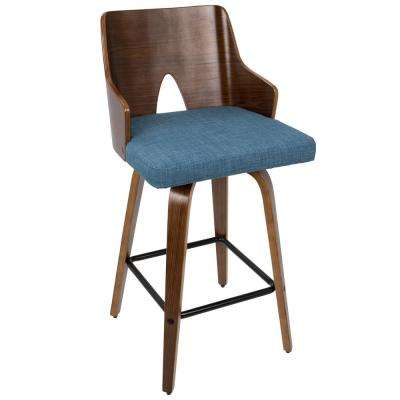 Ariana Fixed Walnut and Blue Height Counter Stool
