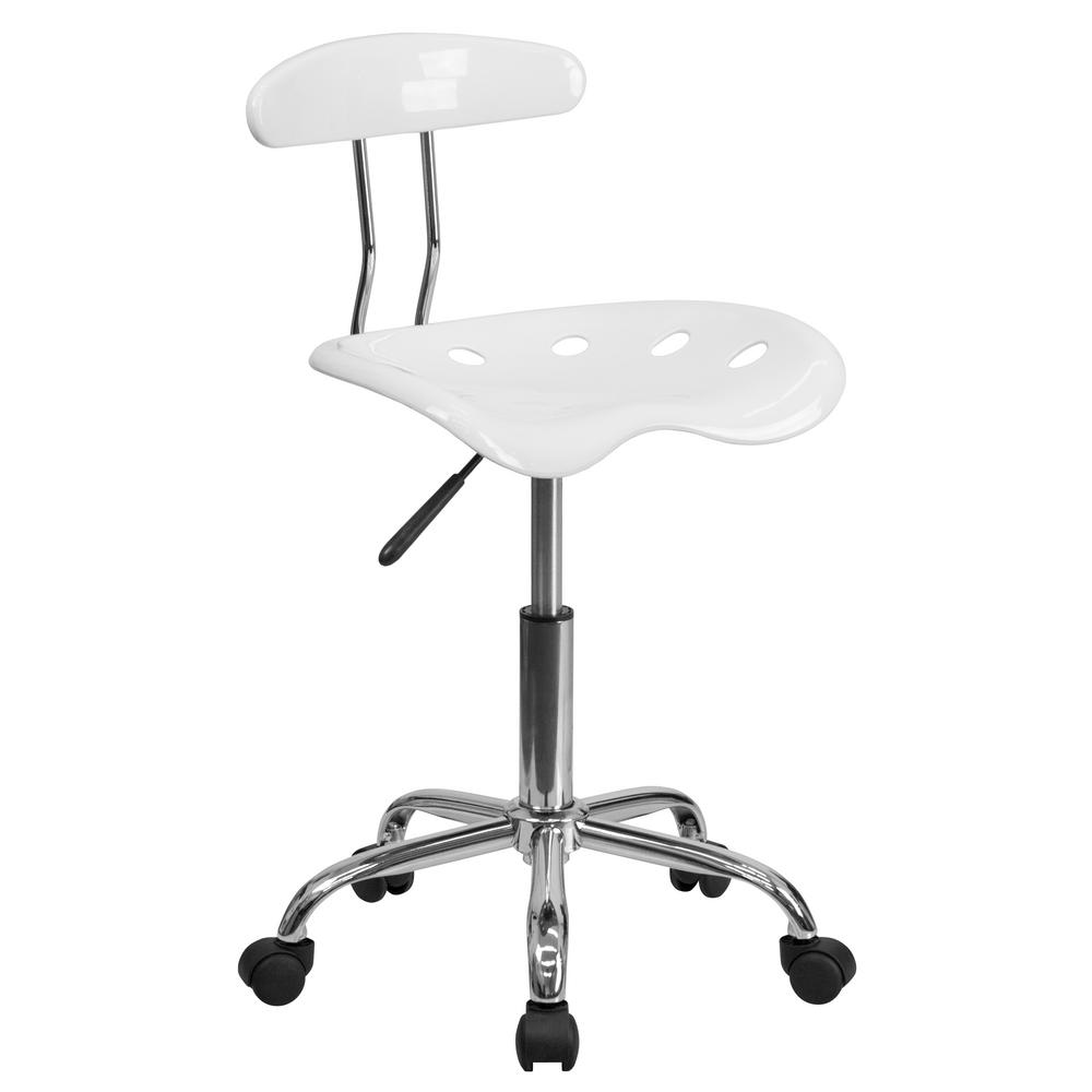FLASH Vibrant White and Chrome Task Chair with Tractor Seat