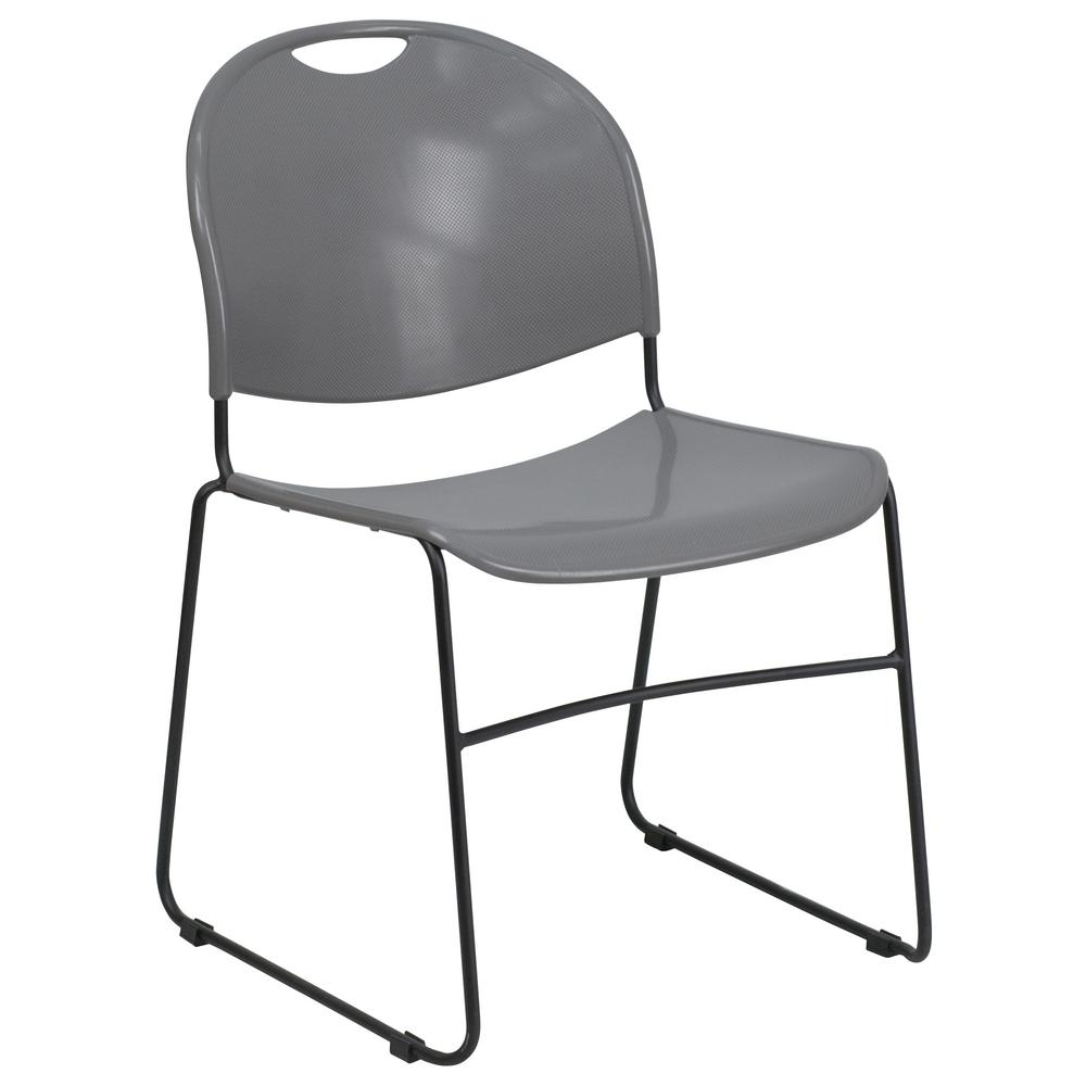 Delicieux Flash Furniture Hercules Series 880 Lb. Capacity Gray Ultra Compact Stack  Chair With Black Frame