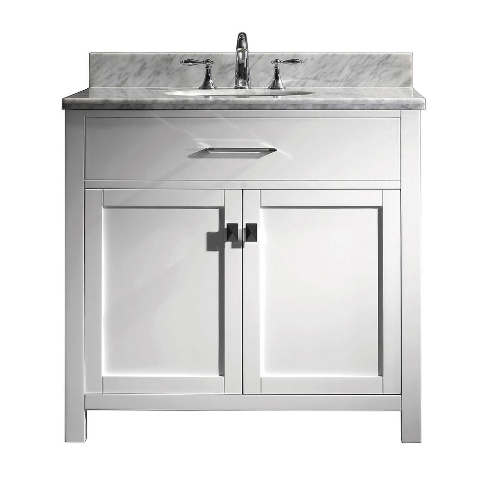 Virtu USA Caroline 36 in. W Bath Vanity in White with Marble Vanity Top in White with Round Basin