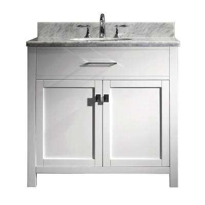 Caroline 36 in. W Bath Vanity in White with Marble Vanity Top in White with Round Basin