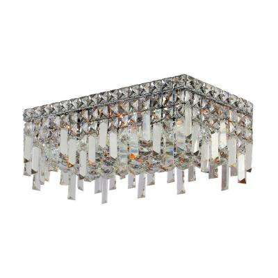 Cascade Collection 4-Light Chrome and Crystal Ceiling Light