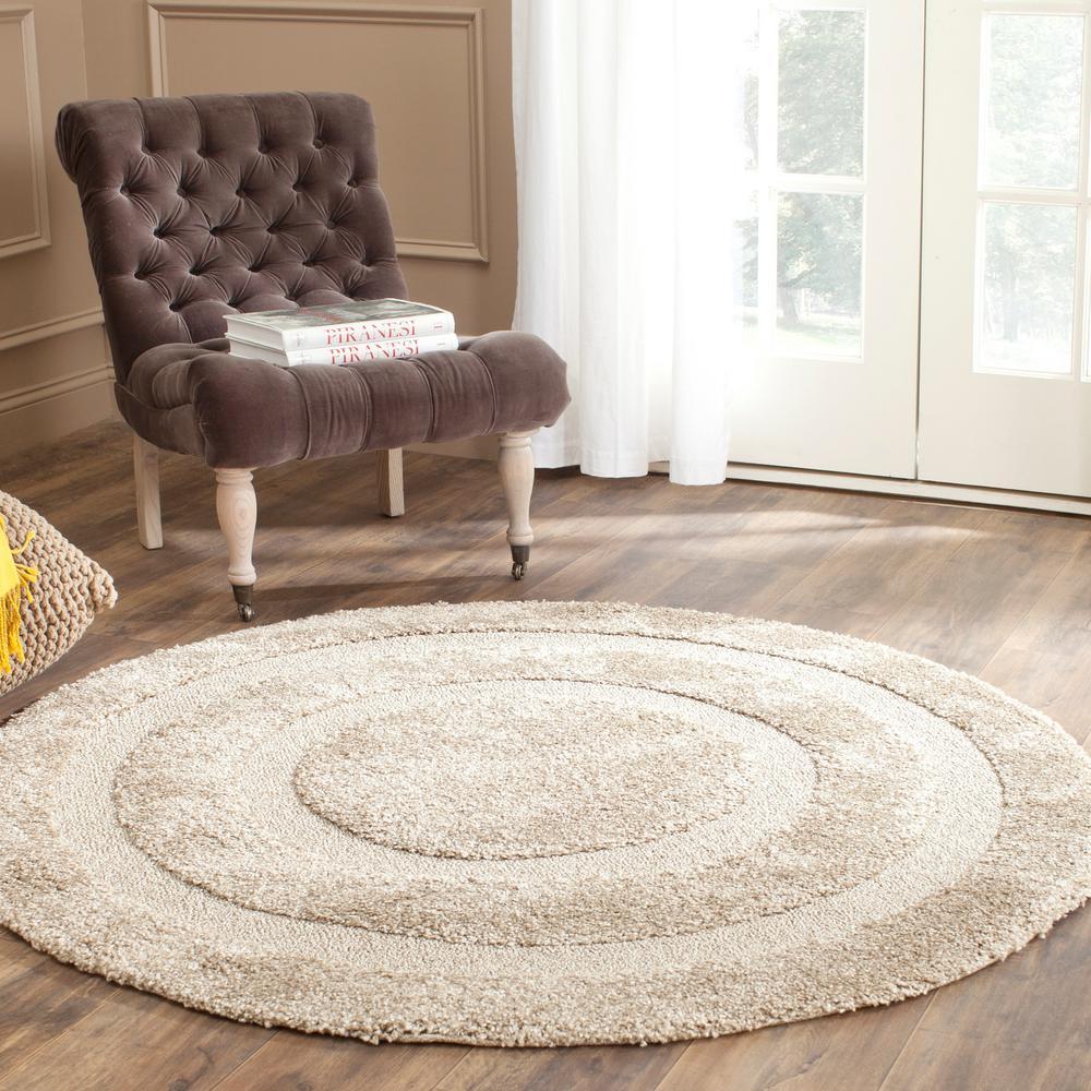 safavieh florida shag beige 4 ft x 4 ft round area rug sg454 1313 4r the home depot. Black Bedroom Furniture Sets. Home Design Ideas