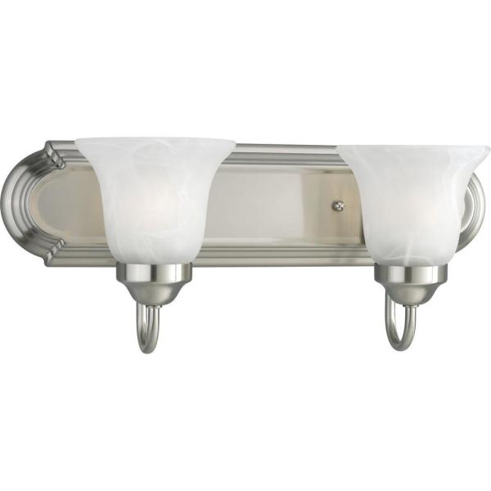 2-Light Brushed Nickel Bathroom Vanity Light with Glass Shades