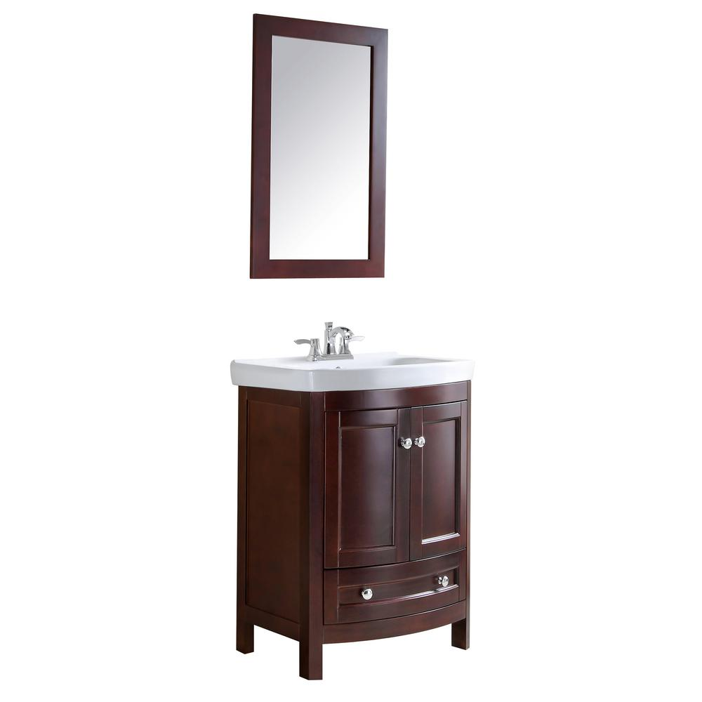 ANZZI Montresor 24 in. W x 34 in. H Bath Vanity in Rich walnut with Ceramic Vanity Top in White with White Basin and Mirror