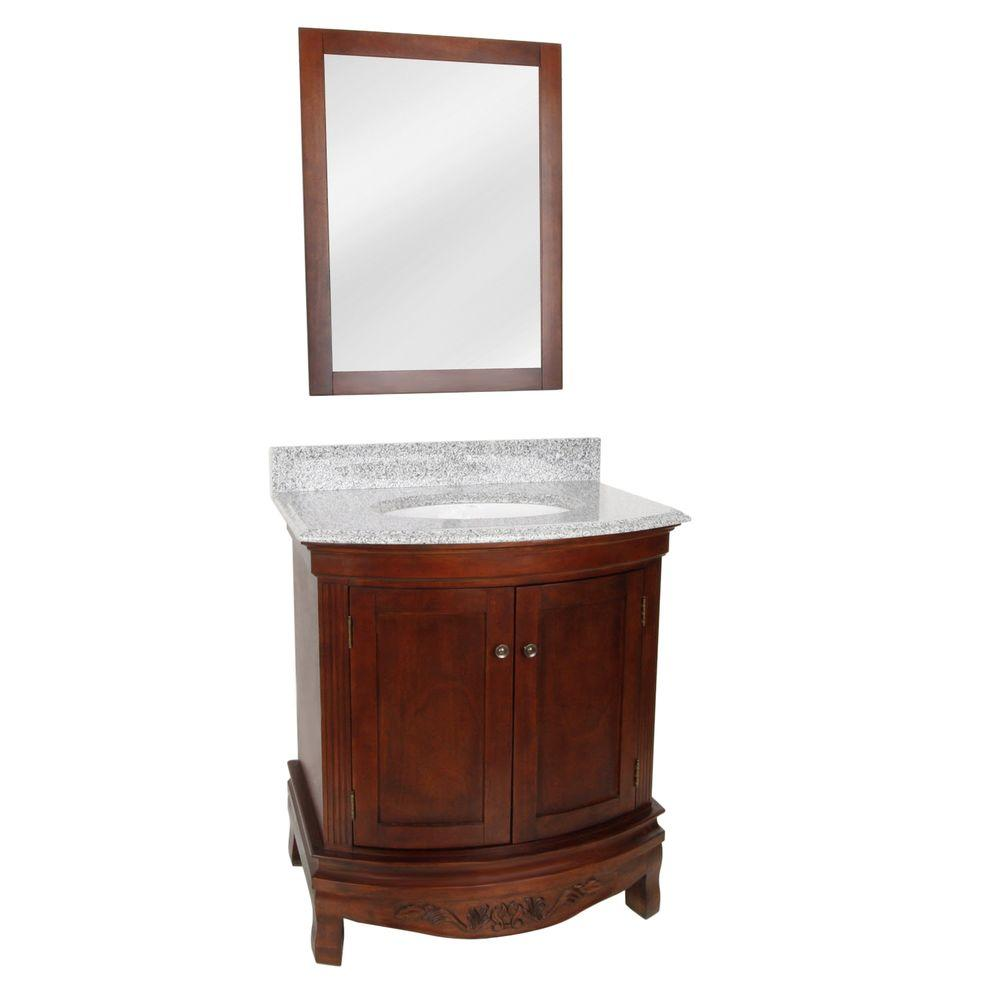Foremost Verona 30 in. Vanity in Dark Walnut with Granite Vanity Top in Rushmore Gray and Mirror-DISCONTINUED