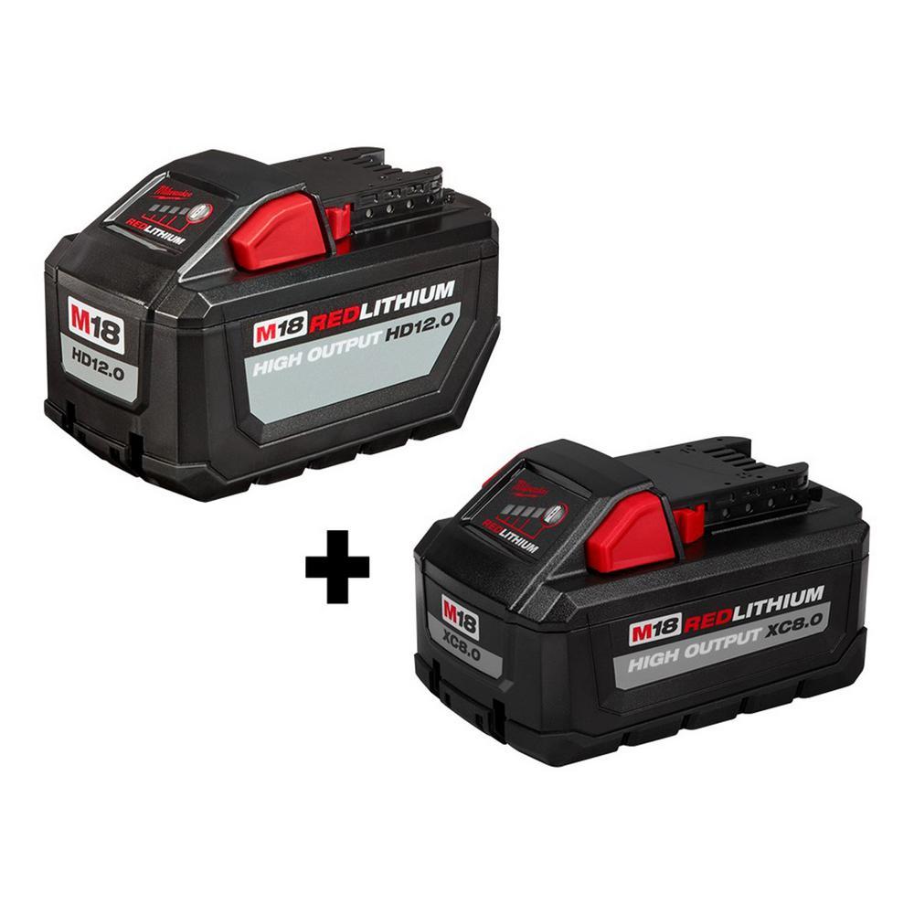 Milwaukee M18 18-Volt Lithium-Ion High Output 12.0Ah Battery Pack + Milwaukee M18 18-Volt Lithium-Ion HIGH OUTPUT XC 8.0Ah Battery (48-11-1880)