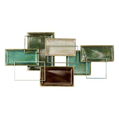Niya Teal Abstract Metal Wall Decor