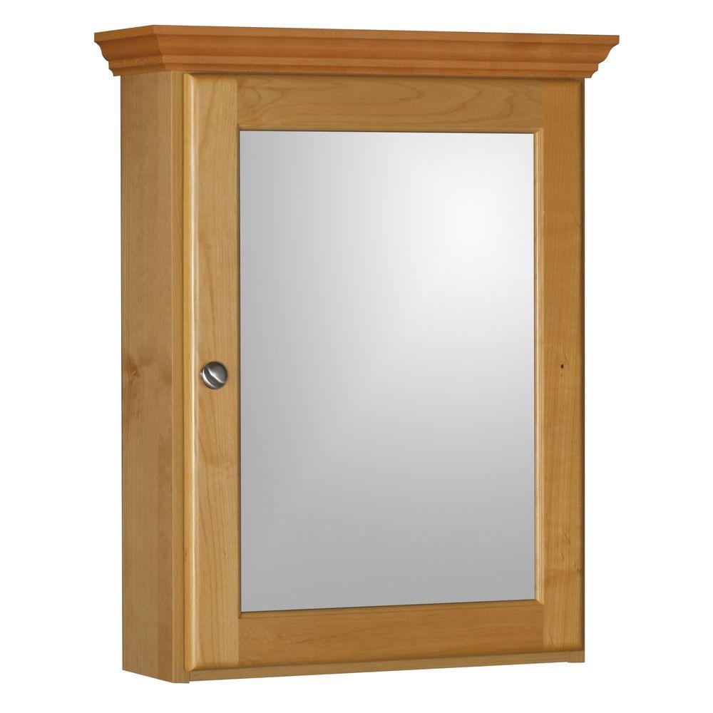 Ultraline 19 in. W x 27 in. Hx 6-1/2 in. D Framed Surface-Mount Bathroom Medicine Cabinet in Natural Alder