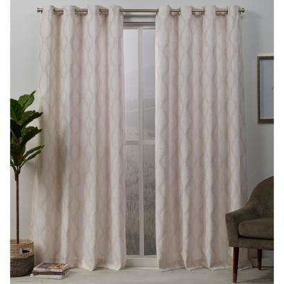 Stark 54 in. W x 96 in. L Woven Blackout Grommet Top Curtain Panel in Blush (2 Panels)