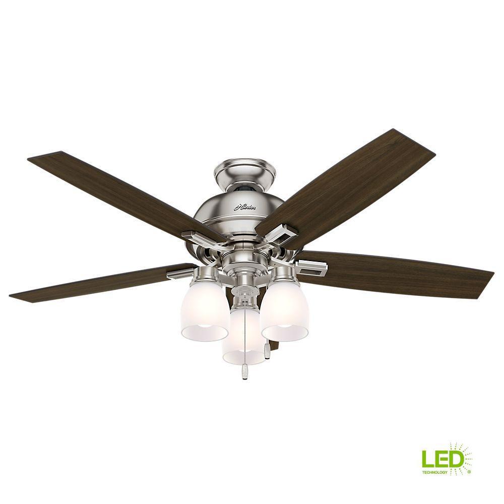 Hunter Fan Brickfield 52 Indoor Brushed Nickel Ceiling: GE Selena 52 In. LED Indoor Brushed Nickel Ceiling Fan