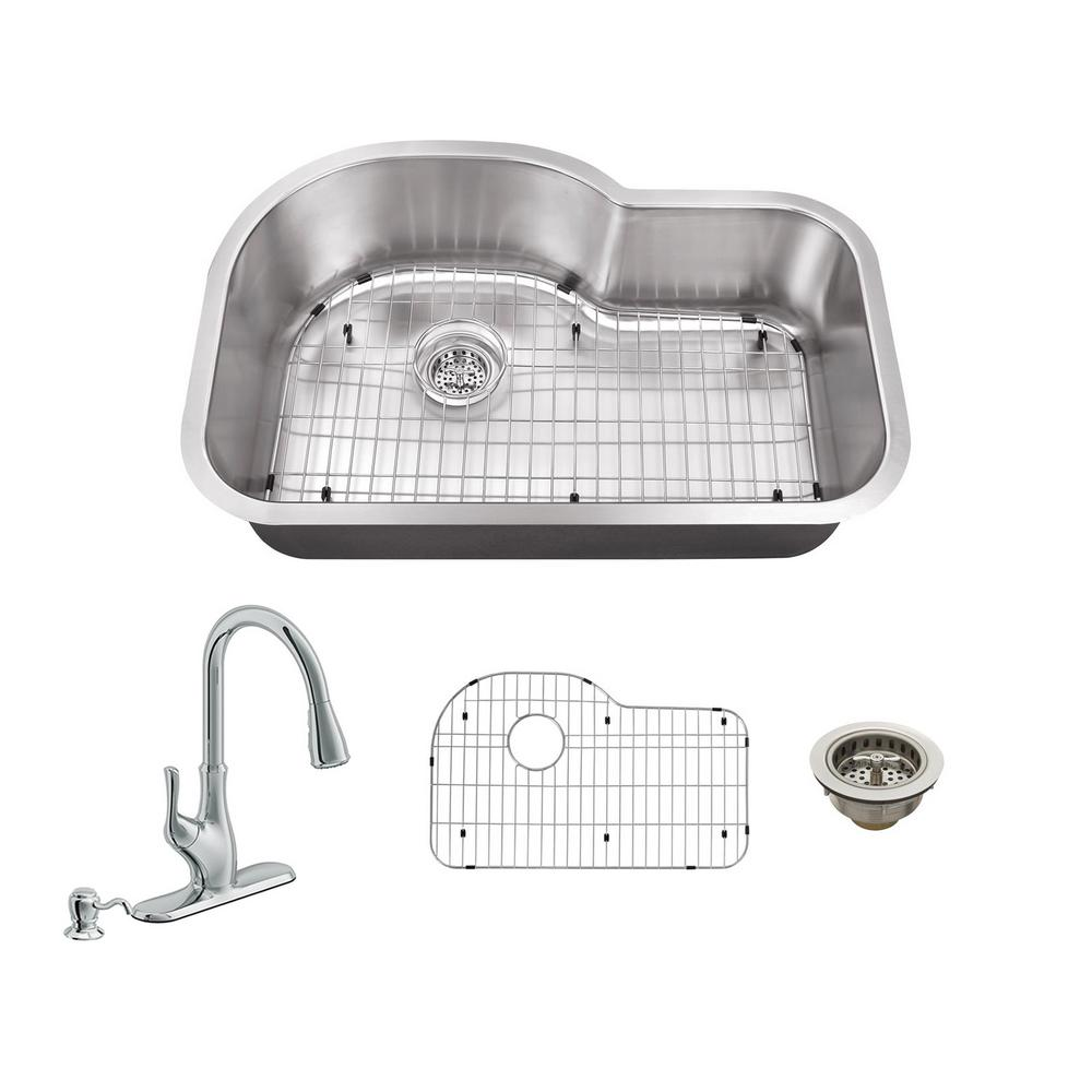 IPT Sink Company All-in-One Undermount Stainless Steel 31.5 in. Single Bowl Kitchen Sink with Polished Chrome Kitchen Faucet