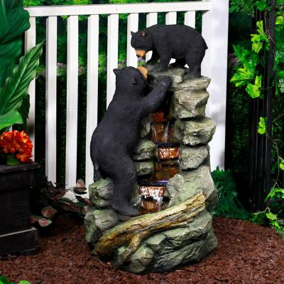 36 in. Tall Outdoor 2 Bears Climbing on Rainforest Water Fountain