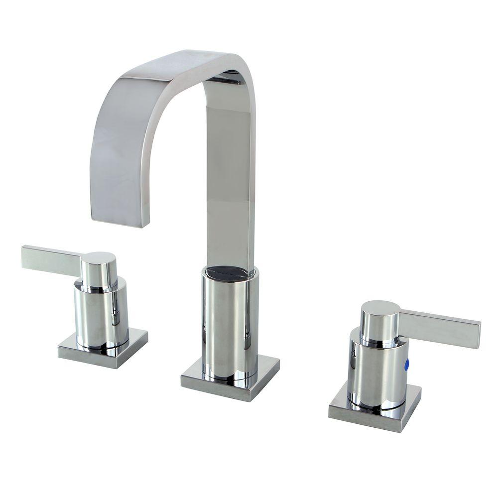 Kingston Brass Modern 8 In. Widespread 2-Handle High-Arc Bathroom Faucet In Polished Chrome