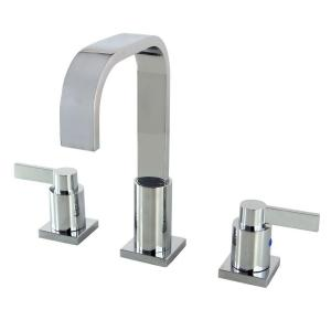 Kingston brass modern 8 in widespread 2 handle high arc bathroom faucet in polished chrome for Polished brass high arc bathroom faucet