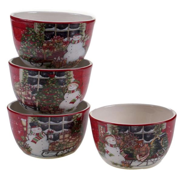 Certified International Snowman's Sleigh Ice Cream/Cereal Bowl (Set of 4)