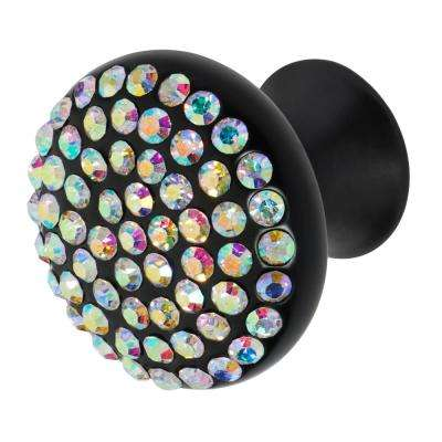 Vivacite 1-1/4 in. Black with Multi-Color Crystal Cabinet Knob