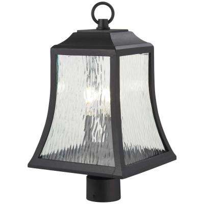 Cassidy Park 3-Light Outdoor Black Post Mount with Clear Water Glass