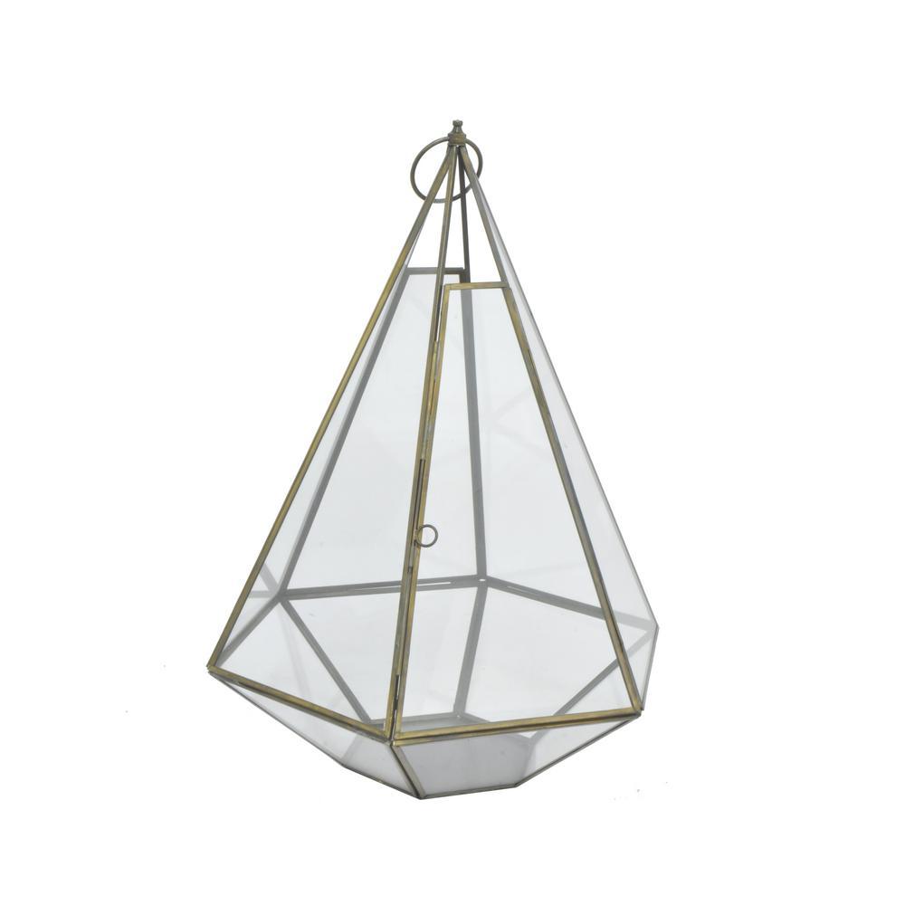 Antique Brass Metal/Glass Terrarium