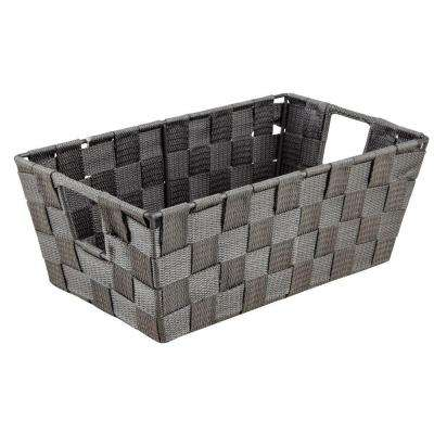 4.5 in. x 11.4 in. Small Woven Strap Shelf Tote Bin in Grey