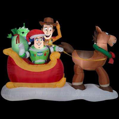 8 ft. W x 3 ft. D x 5 ft. H Inflatable Toy Story Sleigh