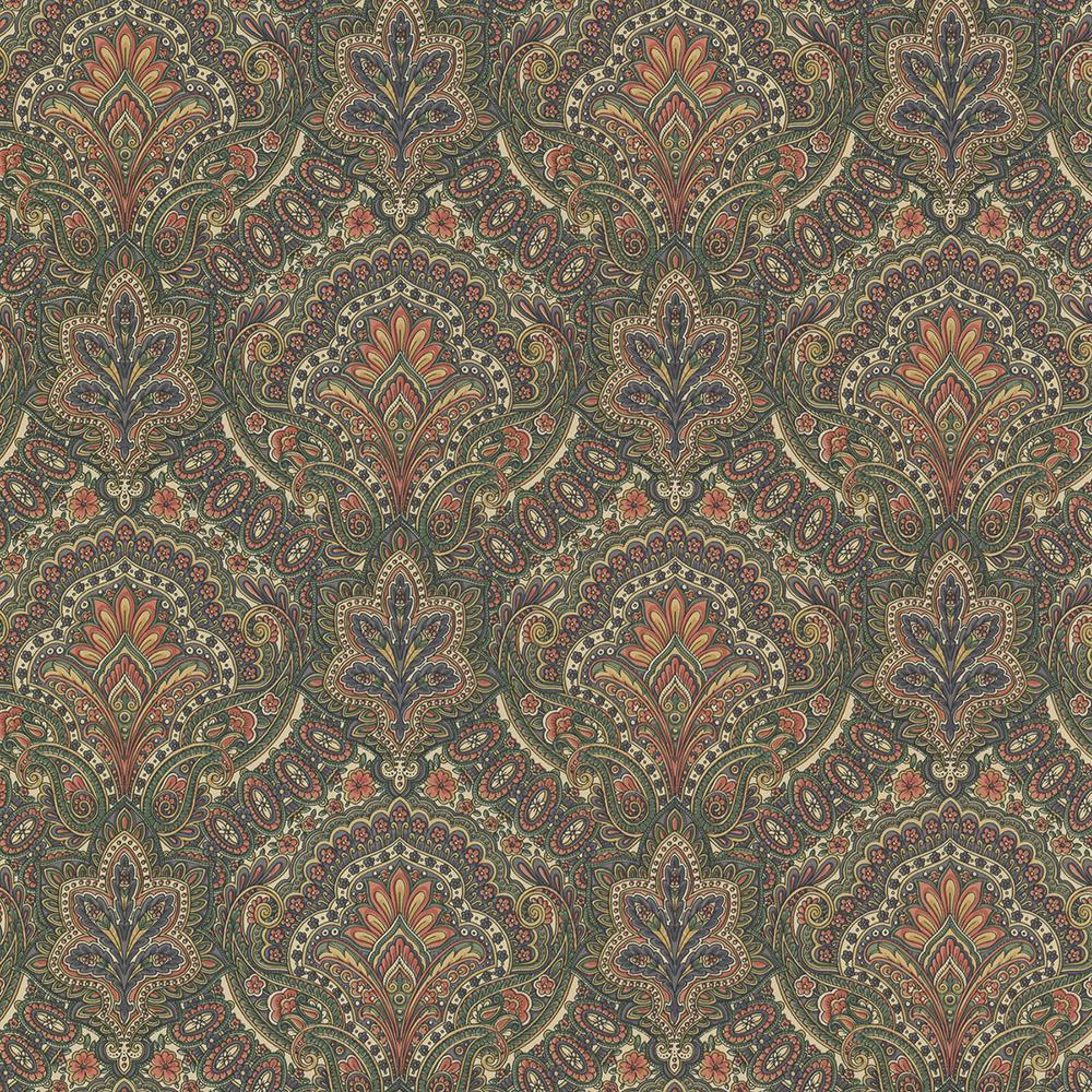 Cypress Sage Paisley Damask Wallpaper Sample