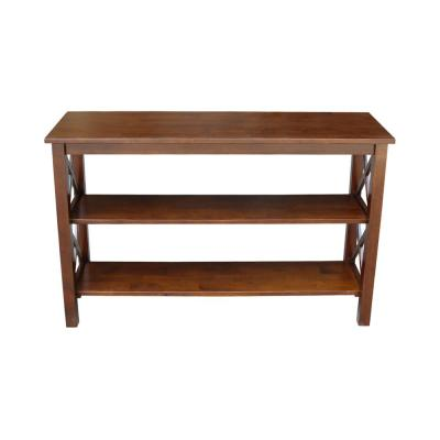 Hampton 48 in. Espresso Standard Rectangle Wood Console Table with Shelves